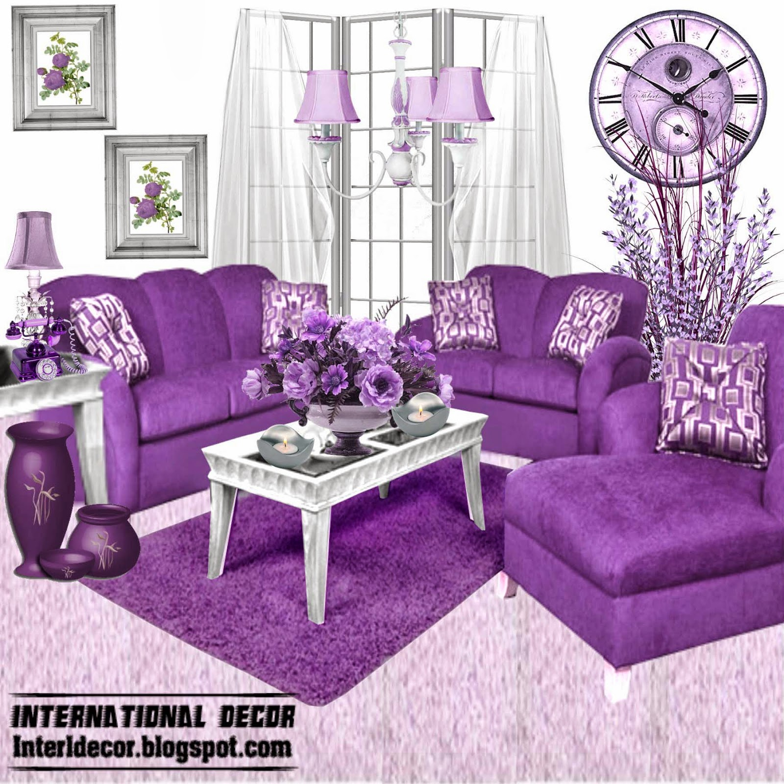 Luxury purple furniture sets sofas chairs for living Purple living room