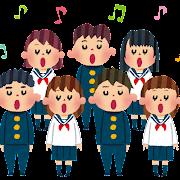 合唱のイラスト「合唱コンクールの学生たち」