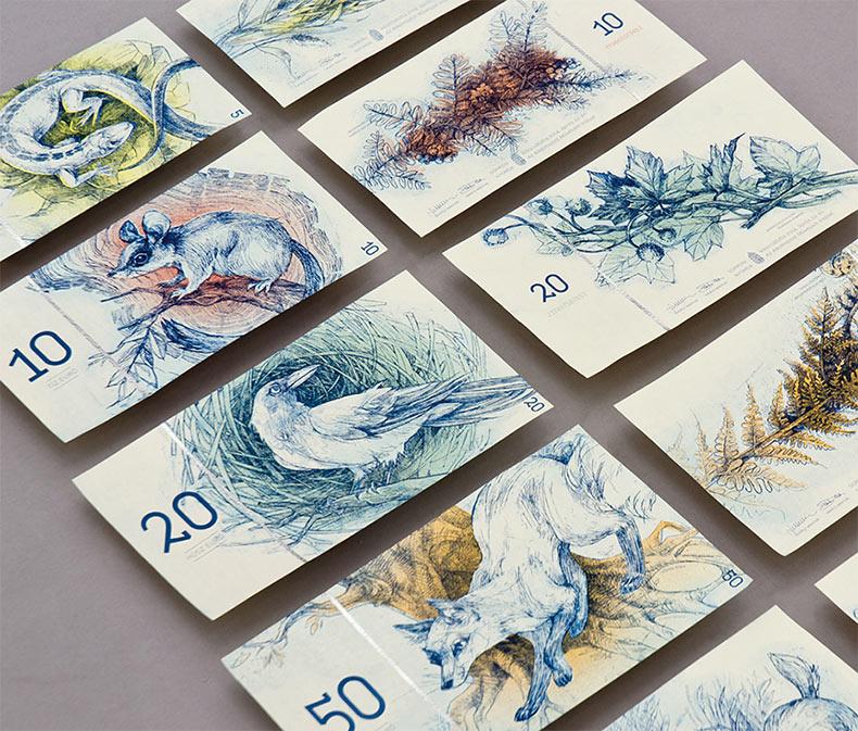 Billetes conceptuales Húngaros diseñado por Barbara Bernát