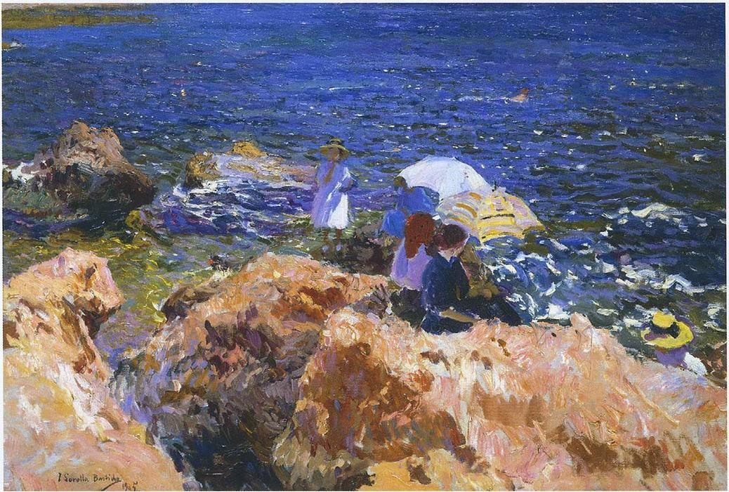 En las rocas, Jávea, oleo sobre lienzo, Joaquín Sorolla