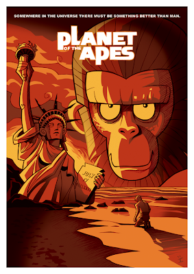 film poster design - planet ares carton - apes movie art