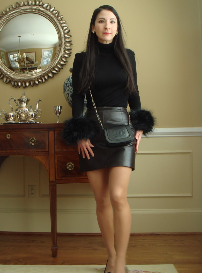 Full outfit with faux fur cuffs facing forward.