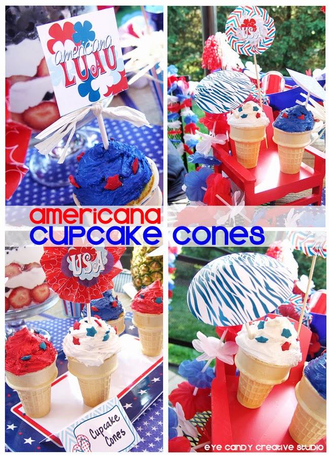 luau ideas, USA, summertime, food umbrellas, red white & blue, cupcake idea