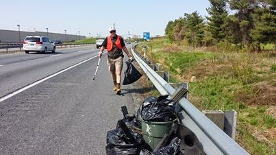 Ken Pederson picking up litter in our adopt-a-highway day