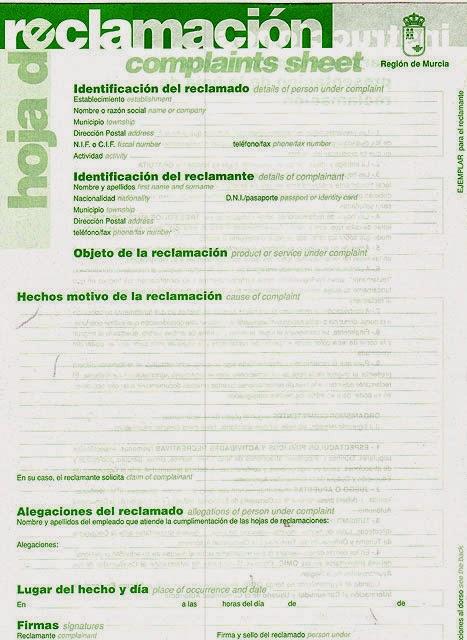 Annemonamour hojas de reclamaciones 5 modelos for Oficina del consumidor murcia