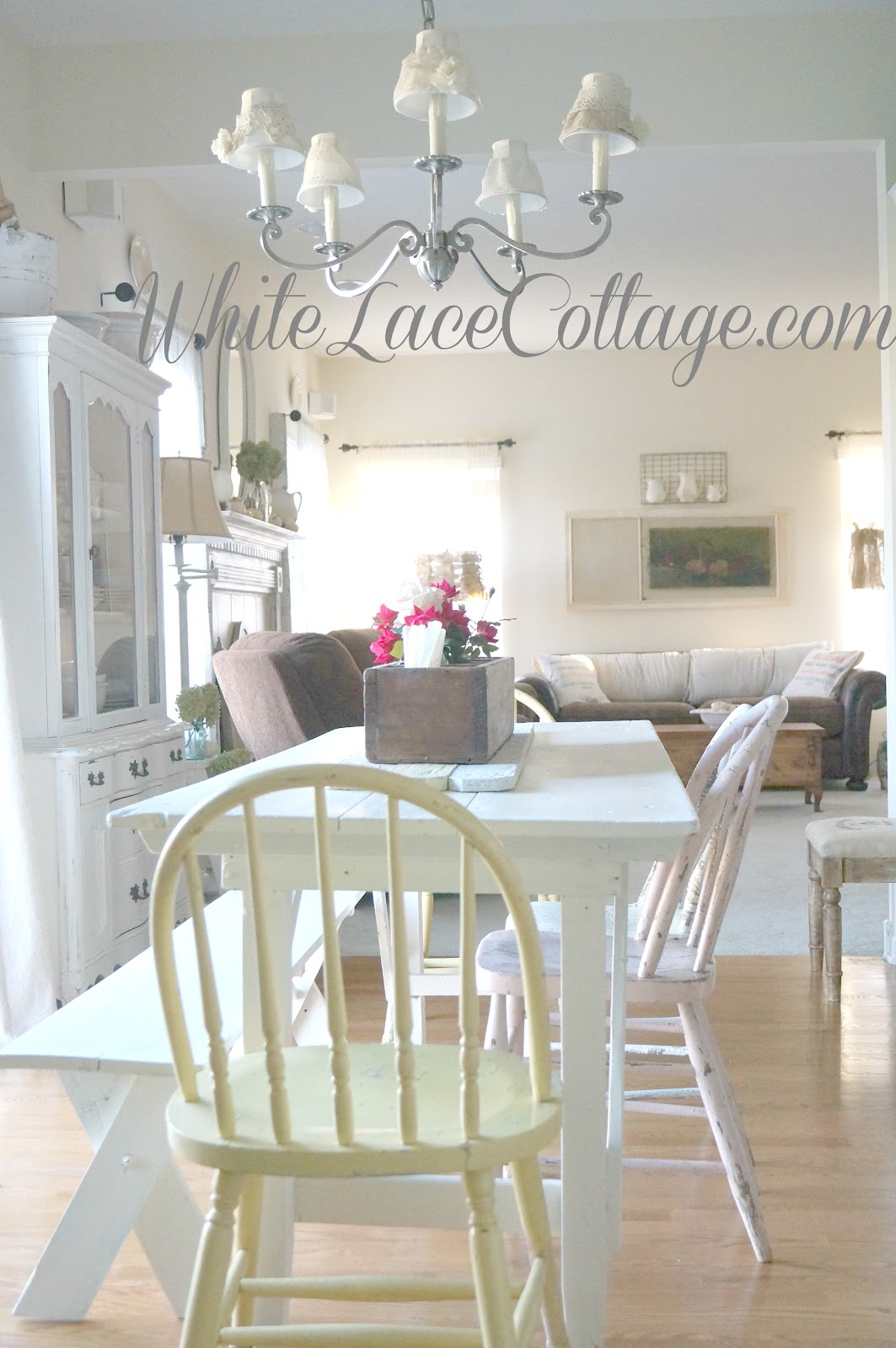 White Painted Farmhouse Table White Lace Cottage