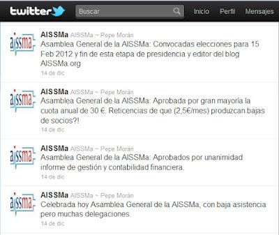 Resumen de la Asamblea General de la AISSMa del 14/12/11, en su Twitter (14/12/11)