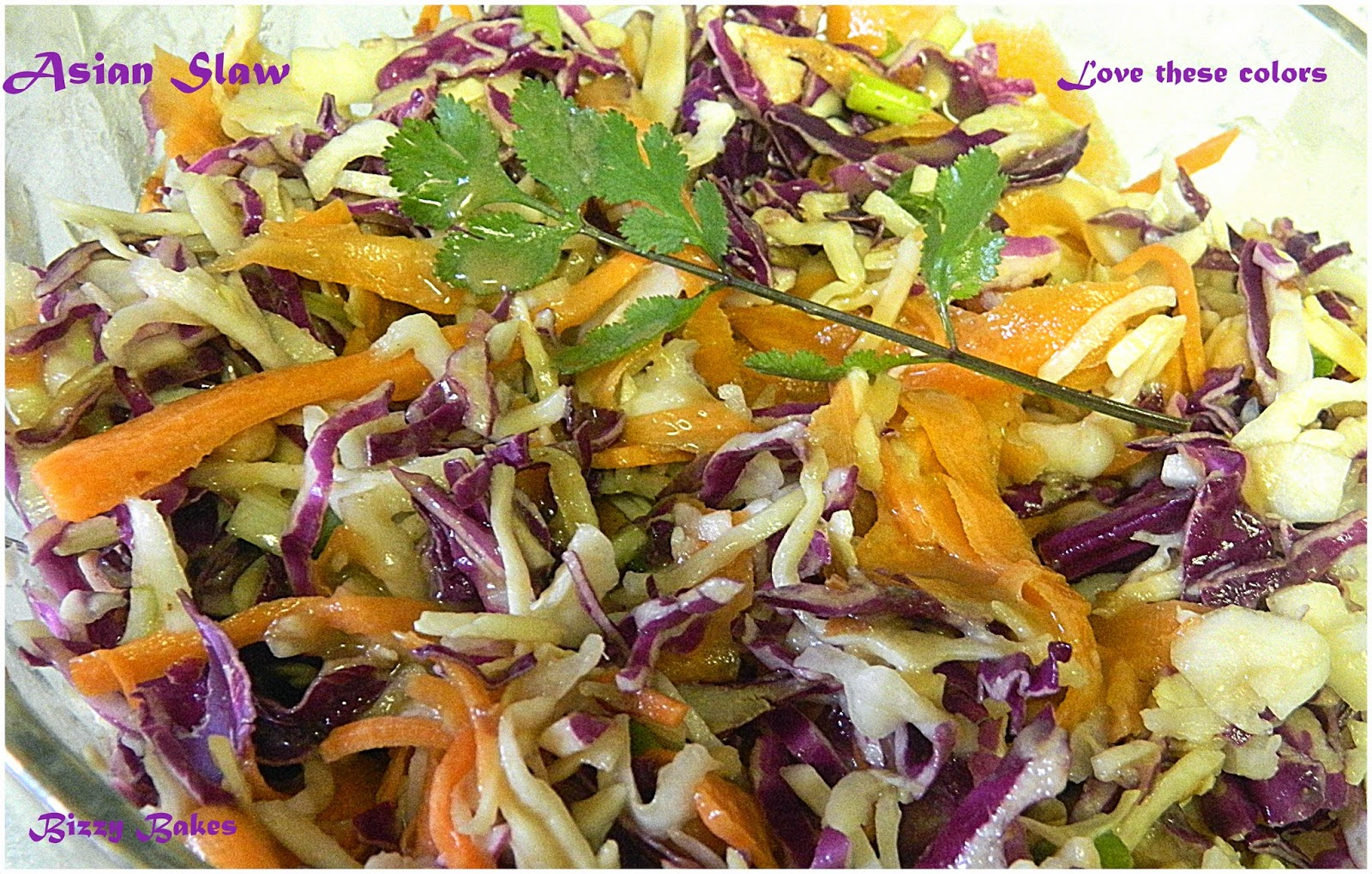 BIZZY BAKES: Asian Slaw with Ginger Peanut Dressing