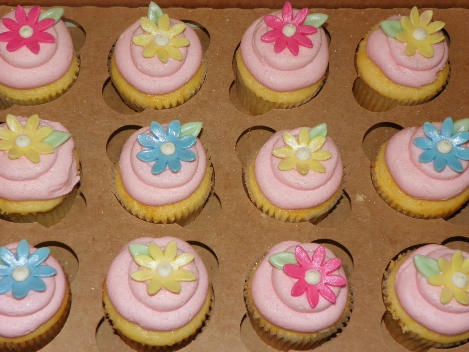 cupcakes were for a double baby shower two friends having baby girls
