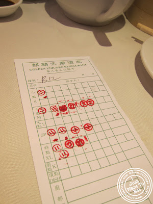 Image of the Dim Sum bill at the Golden Unicorn in Chinatown NYC, New York