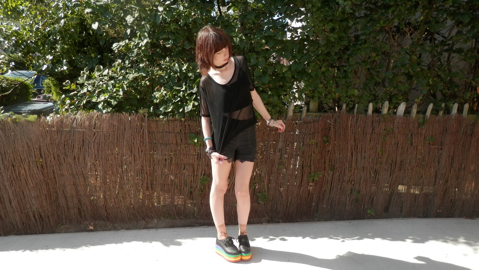 Mesh Top Outfit With Platform Creepers