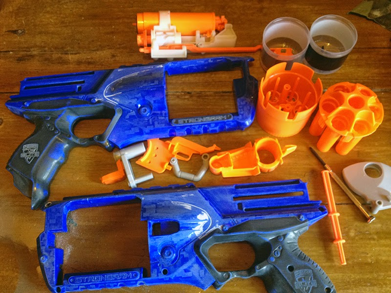 Disassembled and prepped Strongarm NERF gun