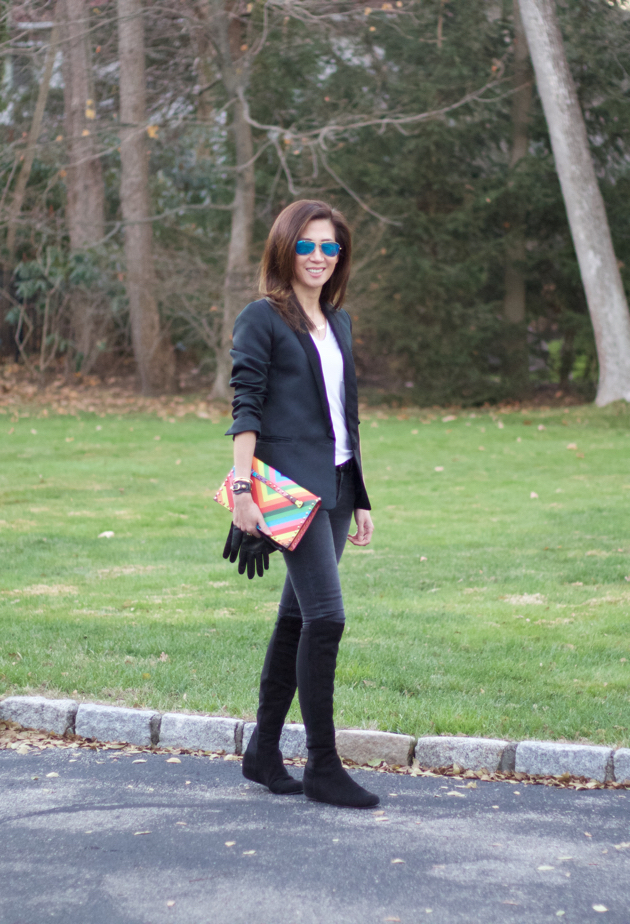 OOTD, Tuxedo Jacket, tee, black skinnies, Valentino clutch, suede boots