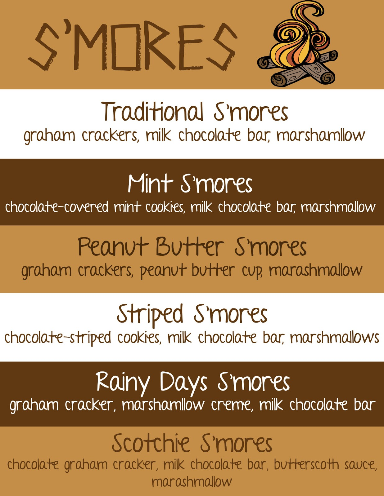 Take this free printable, frame it, and put it out on your s'mores bar ...