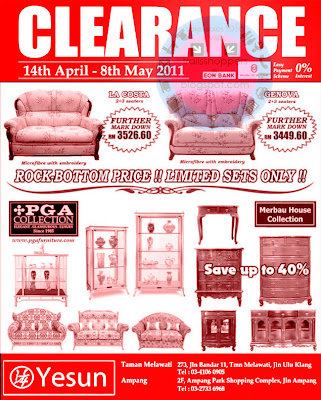 YESUN Furniture Clearance: until 8 May 2011 | Trailsshoppers Daily