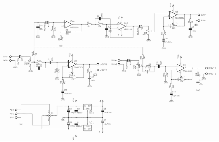merahdelima audio amplifier tda2030 2 1 channelpower supply circuit and pre low pass filter for the sub power supply the power supply is of symmetric type, using a transformer, 110 or 220 with dual