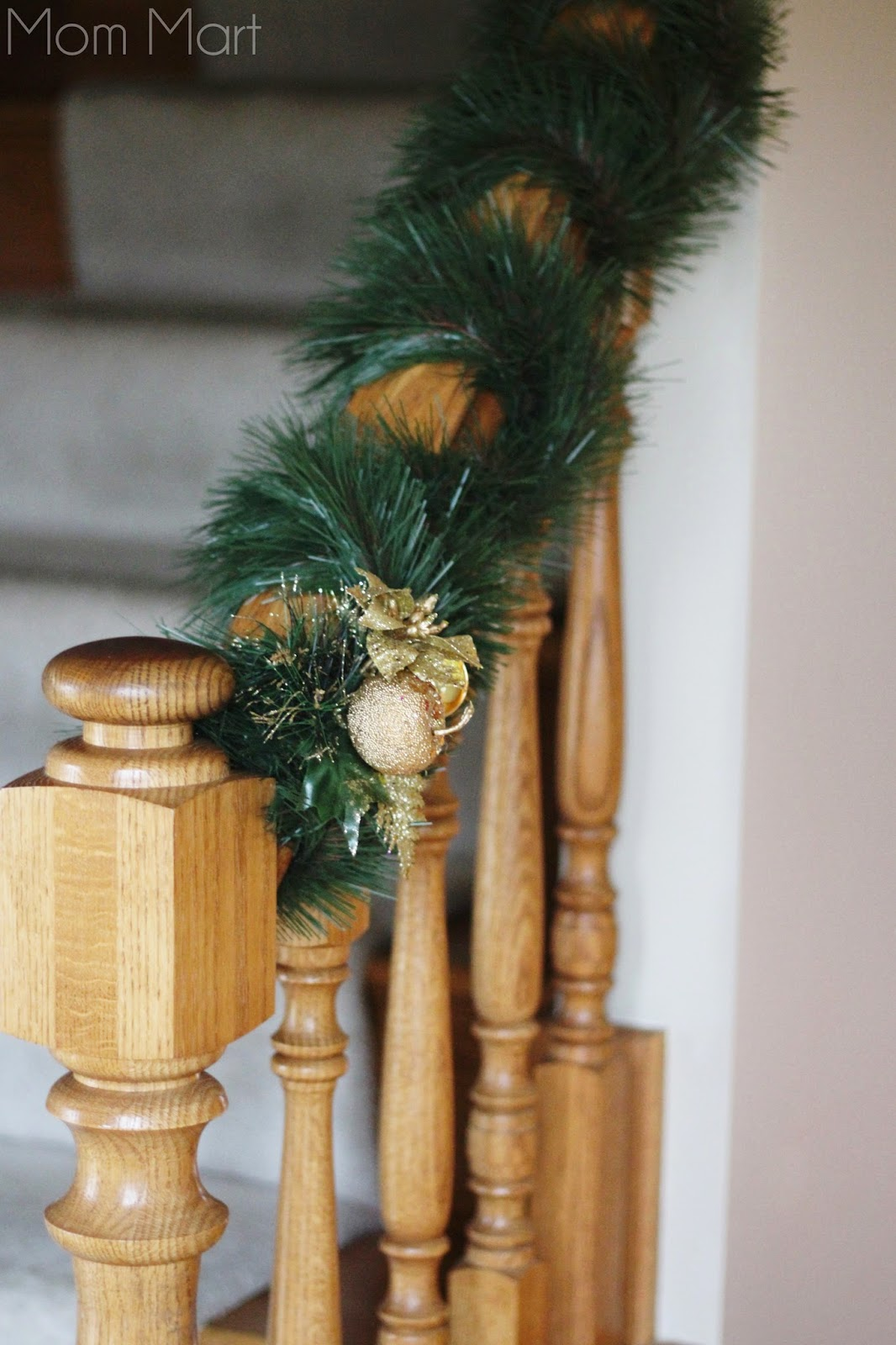 Holiday Decor Christmas Staircase Gold and Green