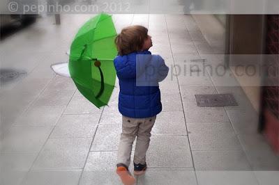 Teo en un día de lluvia