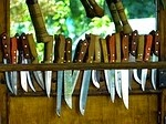 Set of Knives hanging on a wall