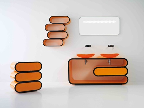 Decora y disena tocador de ba o moderno color naranja for Banos modernos naranjas