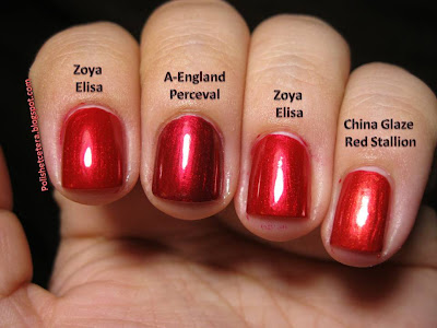 A-England Perceval comparison, Zoya Elisa Comparison, China Glaze Red Stallion Comparison