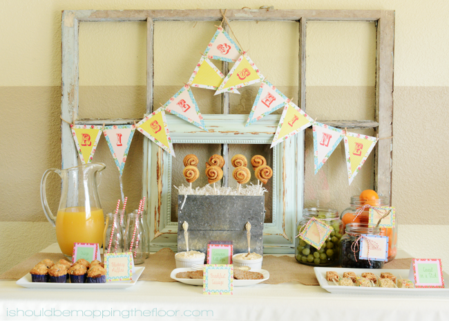 Shabby Chic Sleepover: Easy Breakfast Ideas | Free Banner & Party Food Label Printables | Lots of fun ideas and photos!