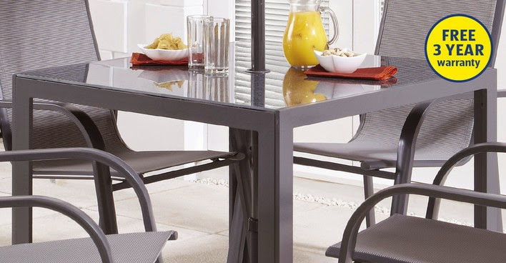Aldiu0027s Aluminium Glass Table (£49.99), Matching Aluminium Chairs (£19.99)  Make An Attractive Option For Those Wishing To Wine And ...