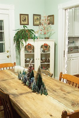 bottle brush trees, christmas, vintage, centerpiece