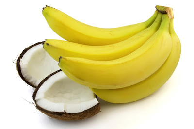 Fruit rich in potassiums, bananas and coconut