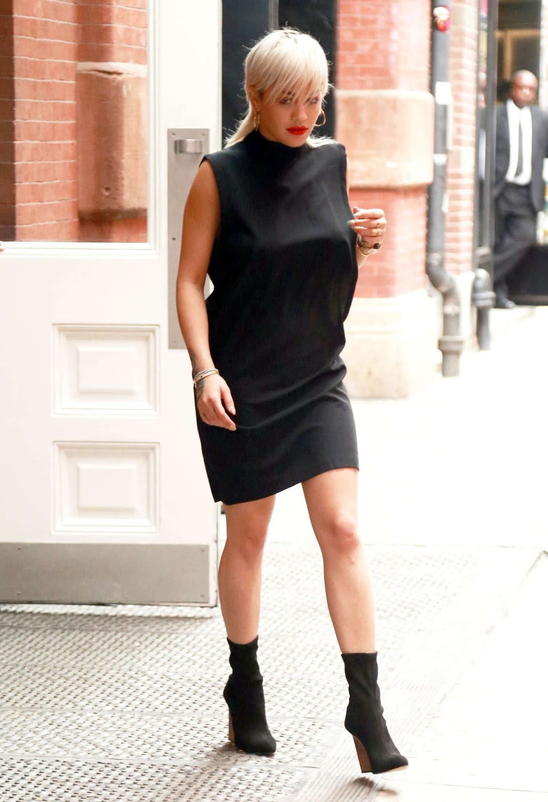 Rita Ora in Black Mini Dress out and about in NYC
