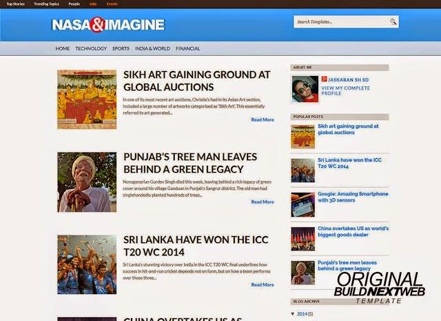 Nasa&Imagine Blogger Template