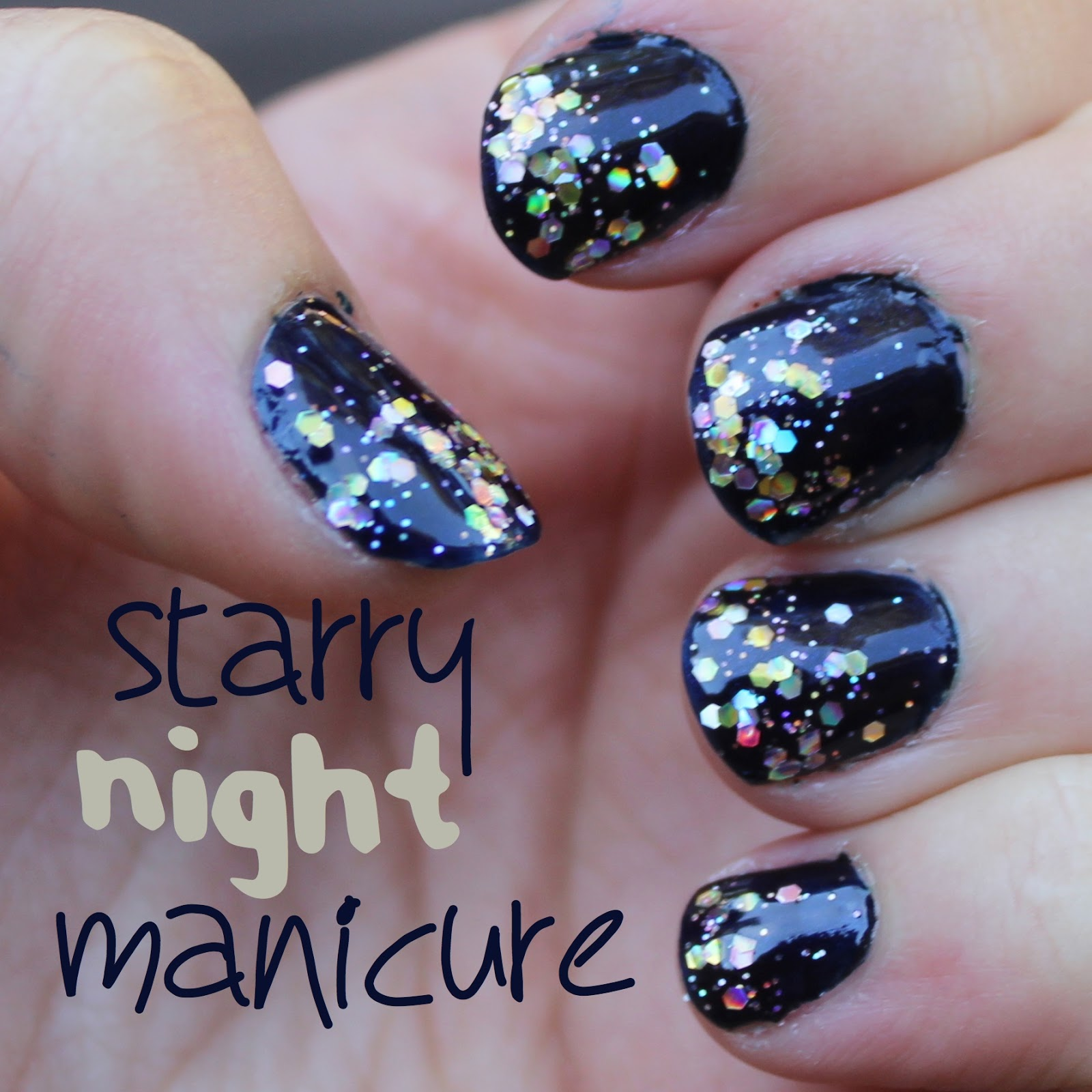 Starry Night Manicure - White Lights on Wednesday
