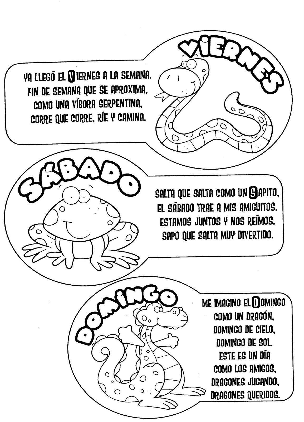 ACTIVIDADES PARA EDUCACIÓN INFANTIL: Poesias de LOS DIAS DE LA SEMANA