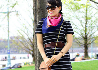 Nautical Stripe Dress with Silk Scarf