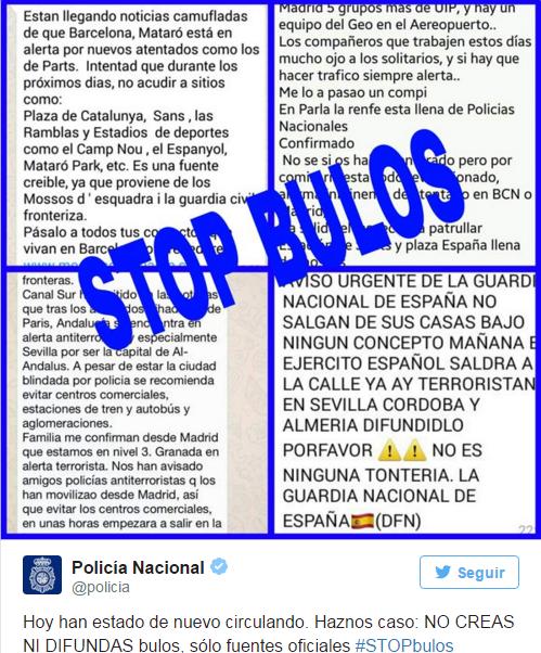 El atentado terrorista yihadista en España un bulo de whaesApp #tontodelbulo