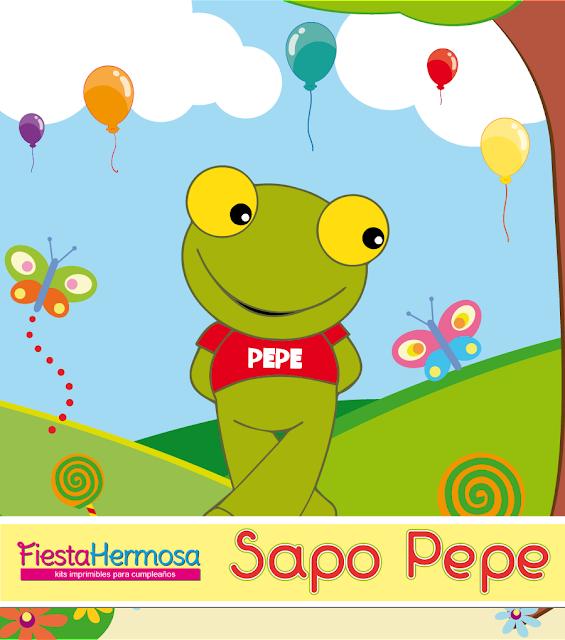 Sapo Pepe, decoraciones, candy bar y cajitas con textos editables para