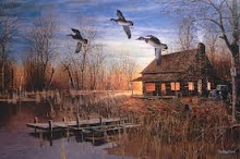 Fall Cabin .. geese flying south