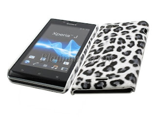 Hard Back Cover Case for Sony Xperia J ST26i Leopard Grey