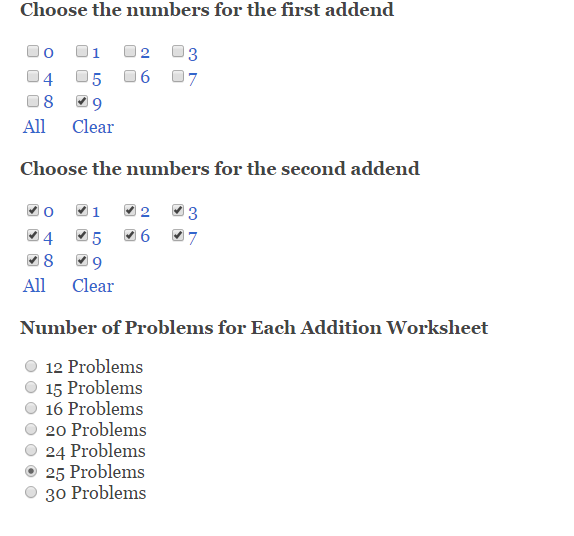 Addition Facts Math Worksheet Generator