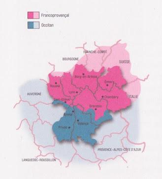 Mapa de l'oficialitat de l'occitan en Ròse Alps