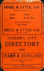Image: Front cover of 1921 Oshawa Phone Directory