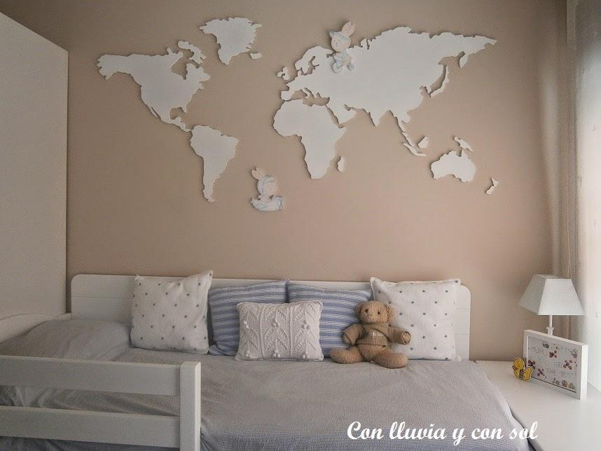 Con lluvia y con sol mapamundi de madera para dormitorio - Decoracion en paredes para ninos ...