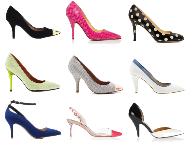 mid heel pointed toe pumps