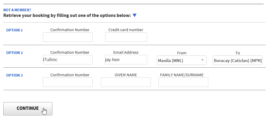 Retrieve your booking by filling out one of the options provided