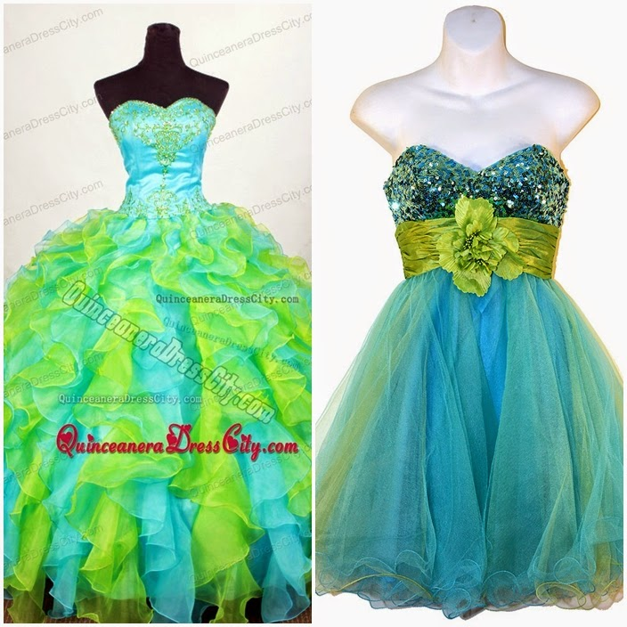 Turquoise and Lime GreenQuinceanera Dresses Turquoise And Lime Green