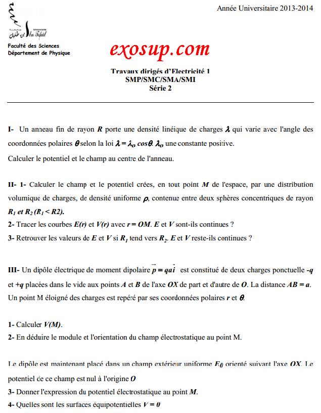 td électricité 1 ibn tofail:série n°2+solution