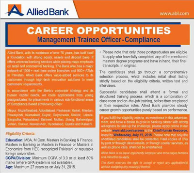 MTO Jobs in Allied Bank