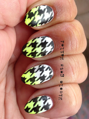 Neon Yellow White Gradient with Black Stamping