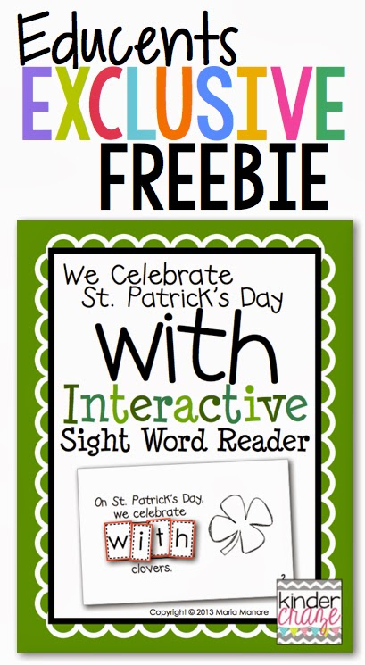 FREE Interactive Sight Word Reader for St. Patrick's Day on Educents. This week only!