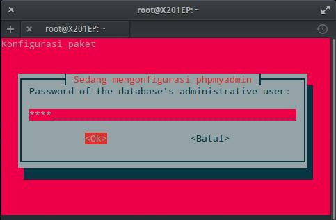 Instal MySQL dan phpMyAdmin : Setting Kata Sandi phpMyAdmin (ROOT)